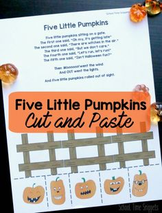 This printable poem for Five Little Pumpkins also includes cut and paste activity for preschoolers to work on fine motor skills! Fall Preschool Activities, Toddler Learning Activities, Halloween Activities, Preschool Halloween, Educational Activities, Bears Preschool, Motor Activities, Halloween Fun, Pumpkin Poem