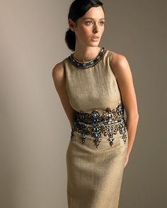 Embellished Linen Dress...looks like something from The Mummy,or Death on the Nile...:)