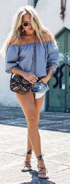 #summer #trending #outfits |  Blue Off The Shoulder Top + denim Shorts