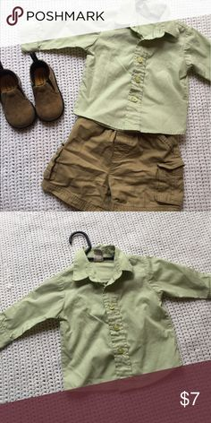 12 Month Boys Button Down Perfect condition, only worn once! Cute off green color, button down shirt. Great for nice occasions or church. Shirts & Tops Button Down Shirts