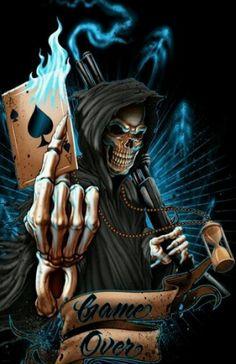 over reaper skull vinyl gra. Totenkopf Tattoo Mann, Totenkopf Tattoos, Skull Tattoos, Body Art Tattoos, Flame Tattoos, Dark Fantasy, Fantasy Art, Tattoo Crane, Grim Reaper Art