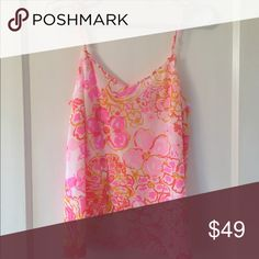 NWT Lilly Pulitzer Zoe V-Neck Camisole Size small, print Happiness Is, Retails $108 Lilly Pulitzer Tops