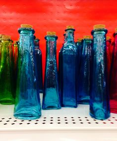 Assorted glass bottles from Michaels. $2.99.