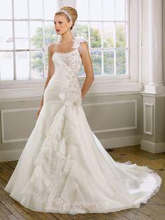 Alluring A-line One Shoulder Floor-length Organza White Wedding Dresses - $181.99 - Trendget.com