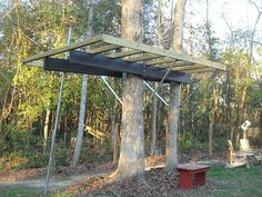 This treehouse by Glover Design uses Kee Lite pipe fittings to support the bottom of the structure.