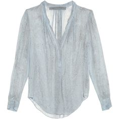 Raquel Allegra Rainwash tie-dye silk-chiffon blouse ($535) ❤ liked on Polyvore featuring tops, blouses, shirts, light blue, v-neck tops, sheer print blouse, ruched top, plunge top and pattern blouse