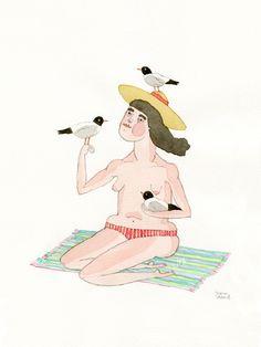 A senhora das gaivotas , 2012 • aguarela e grafite s/ papel • 21x14,8 cm