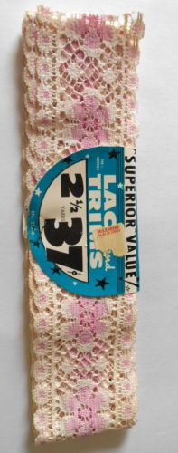 VINTAGE-60s-2-1-2-yards-2-3-8-Sewing-Pink-Cream-Lace-flower-daisy-embroidery  #BigBoyTumbleweed