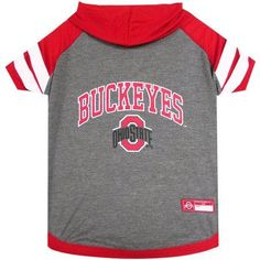 Pets First College Ohio State Buckeyes Pet Hoody Tee Shirt, 4 Sizes Available, Red