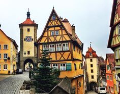Colorful Architecture in Rothenburg ob der Tauber, Germany