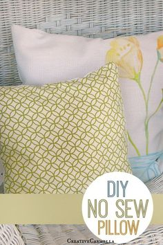 DIY No Sew Pillow! A fun and easy way to update your home or porch for each season. #DIY #NOSEW #PILLOW #CRAFTIDEA #NOSEWCRAFTS