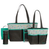 Two totes, a changing pad and lots of other features make this set perfect for any new mom.