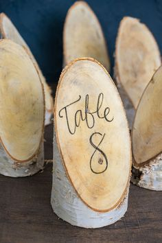Birch Forest Placecard! Great idea for table numbers or other writting! #WeddingIdeas