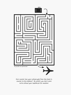 Free Printable Maze: Suitcase to Plane Mazes For Kids, Math Activities For Kids, Free Printable Puzzles, Free Printables, Maze Worksheet, Worksheets, Activity Sheets, Brain Teasers, Fun Learning