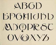 1910 black and white print of an Art Nouveau alphabet design --upper case. Calligraphy Fonts Alphabet, Hand Lettering Alphabet, Typography Letters, Graphic Design Typography, Alphabet Design, Penmanship, Creative Lettering, Lettering Styles, Lettering Design
