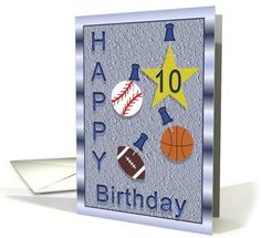 10th Birthday card: Ten Year Old Boy Birthday Card