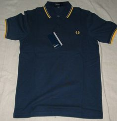 """Fred Perry Dark Carbon w/gold $72.00 Detailed Description (""""Carbon"""" color [blue-grey, dark color with gold and grey piping, Slim Fit)"""