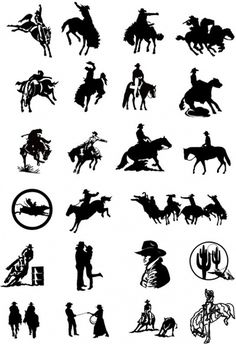 black and white drawing clip art cowboy series two
