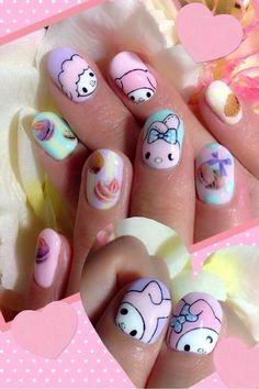 kawaii my melody nails Rose Nail Art, Rose Nails, Kawaii Nail Art, Anime Nails, Nailed It, Hello Kitty Nails, Cute Nail Art Designs, Disney Nails, Nagel Gel