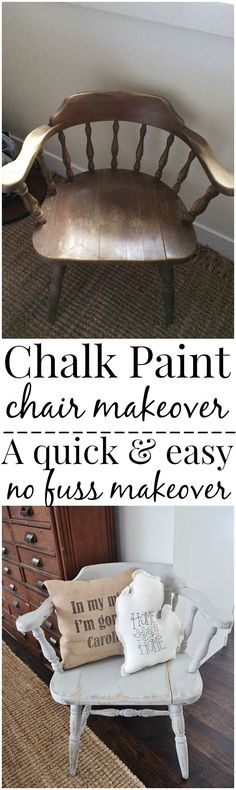 CHALK PAINT: Super easy way to paint furniture with no mess & no fuss! A must pin to make furniture that is being thrown away into a treasure. Also the best neutral light gray paint to use! Chalk, Paint Furniture, Chalk Paint Chairs, Chair Makeover, Chalk Paint Furniture, Diy Furniture, Painted Furniture, Diy Decor Projects, Redo Furniture