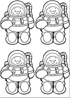 Este astronauta apareció en una revista de la editorial Ediba, no sé si de Infantil o Primarea. Le he quitado el color para que los niños/as lo puedan colorear y le he ajustado de tamaño. Hay cuatro astronautas por pieza y el círculo grande de las piernas es para recortar …