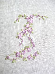 Hand Embroidery Monogram Letter I by Madame Hollyhock