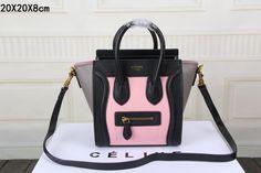 Celine Luggage Nano Bag Original Leather CT3308S Pink&Black&Grey