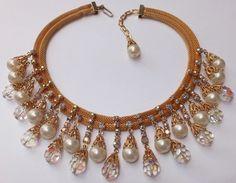 Vintage Kramer Mesh Aurora Borealis Rhinestone Pearl Crystal Collar Bib Necklace | eBay
