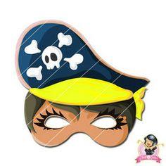 Childrens Printable Girl Pirate Mask - Yellow | Simply Party Supplies Printable Masks, Printables, Phantom Mask, Opera Mask, Girl Pirates, Hero Costumes, Half Mask, Printer Paper, Children Images