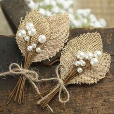 Rustic Burlap Leaf and Pearl Berry Boutonnieres - Corsage + Boutonniere Supplies - Floral Supplies - Craft Supplies Burlap Flowers, Burlap Lace, Diy Flowers, Fabric Flowers, Paper Flowers, Wedding Burlap, Burlap Weddings, Burlap Wedding Decorations, Lace Ribbon