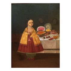 Horacio Renteria Rocha (1912-1972) Mexican Painting Table top still life with Red Dressed Girl c 1930IMG_8501[1]
