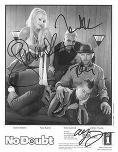 """This is a beautiful reprint/preprint/reproduction of an original signed approx 8\""""x10\"""" photo of No Doubt.Signatures included Gwen Stefani  *  Tony Kanel  *  Tom Dumont  *  Adrain Young.This high quality professional photograph is printed on 8\u00bd\"""" x 11\"""" quality premium glossy photo paper and is untrimmed, so you can frame it or mat it to whatever size you want!Members of the UACC (Universal Autograph Collectors Club) Autograph Arcade #8714.  - I lost 26 pounds from here EZLoss DOT com…"""