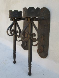 PAIR of Wrought Iron Medieval Gothic Torch by VintageValise1