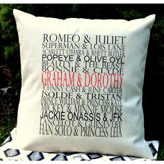 Personalized Famous Couples Gift Insert Included Valentines Pillow... ($37) ❤ liked on Polyvore featuring home, home decor, throw pillows, decorative pillows, grey, home & living, home décor, grey accent pillows, set of 2 throw pillows and gray throw pillows