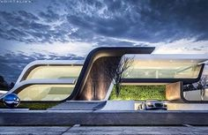We love Dunas House designed by via Don't you? Conceptual Architecture, Roof Architecture, Modern Architecture House, Futuristic Architecture, Amazing Architecture, Villa Design, Facade Design, Exterior Design, Bungalow House Design