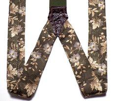 Vintage Floral Silk Suspenders Men's Button On Braces