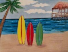 Surfboard Surf Boards Decorative Ceramic Wall Art Tile by CCWT Decorative Wall Tiles, Ceramic Wall Art, Ceramic Decor, Tile Art, New Things To Try, Tropical Pool, Surf Boards, Wall Installation, Beach Scenes