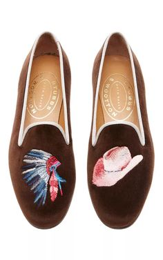 M'O Exclusive: Happy Menocal  Cowboys & Indians Slipper by Stubbs & Wootton for Preorder on Moda Operandi