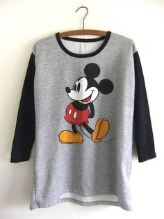 8deab5148 Jumper Shirt, Sweatshirt, Ringer Tee, Jumpers For Women, Baseball Shirts,  Heather Grey, Vintage Clothing, Vintage Outfits, Mickey Mouse