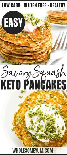 Keto Zucchini Pancakes Recipe - See how to make a healthy zucchini pancakes recipe in just 20 minutes, with 6 ingredients! Keto squash pancakes are fluffy, savory, and delicious. Keto Foods, Ketogenic Recipes, Keto Recipes, Healthy Recipes, Best Zucchini Recipes, Healthy Zucchini, Recipe Zucchini, Best Keto Breakfast, Breakfast Recipes