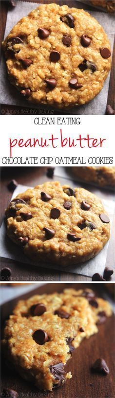 Clean-Eating Chocolate Chip Peanut Butter Oatmeal Cookies -- these skinny cookies don't taste healthy at all! You'll never need another oatmeal cookie recipe again! Pin now to make this healthy cookie recipe later.