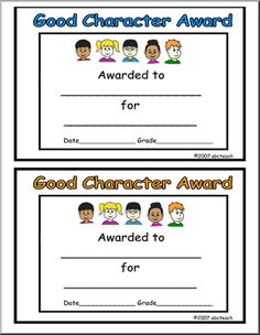 Christian character award christian character award template social and emotional learning videos teaching ideas pinterest yelopaper Images
