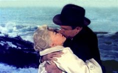 "James Stewart kisses Kim Novak in ""Vertigo"" (1958)."