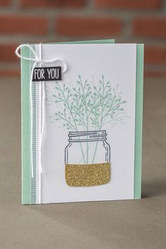 We just love the touch of gold glimmer paper on this canning jar from the Jar of Love stamp set. #stampinup