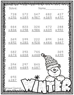 Winter Themed Addition with Regrouping Need extra addition practice? These ten pages Math Worksheets, Teaching Resources, Math Lessons, School Lessons, Elementary Math, Winter Theme, Teaching Tools, Fourth Grade, Classroom