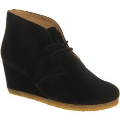 Clarks Originals Yarra Desert Boots (120 CAD) ❤ liked on Polyvore featuring shoes, boots, ankle booties, ankle boots, black suede, women, suede boots, desert boots, suede ankle booties and black suede bootie