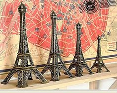 1 Pack Metal French Eiffel Tower Statue Figurine Replica Centerpiece Room Table Decor Jewelry Stand French Souvenir Gift From Paris France Cake Topper Gifts Party House Decoration 6Inch