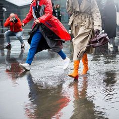 """2,901 Likes, 21 Comments - New York Times Fashion (@nytimesfashion) on Instagram: """"Splish, splash: guests ran into a rain puddle outside the Dries Van Noten show. Photo by…"""""""