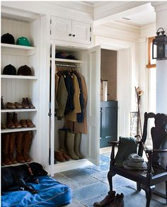 for the ones we can turn on the side (or maybe not)...want the one side full length cabinet too(or at least one of them), lots of shoes, lots of coats!  family coat closet, if you will...def need to remember to do this.