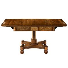 Exquisite Regency Rosewood Brass Inlaid Pedestal Sofa Table at 1stdibs